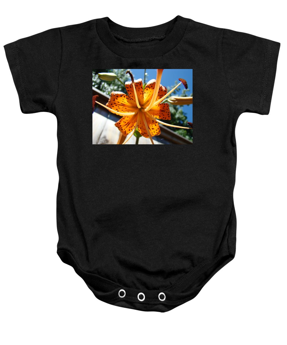 Lilies Baby Onesie featuring the photograph Lily Flower Artwork Orange Lilies 3 Giclee Art Prints Baslee Troutman by Baslee Troutman