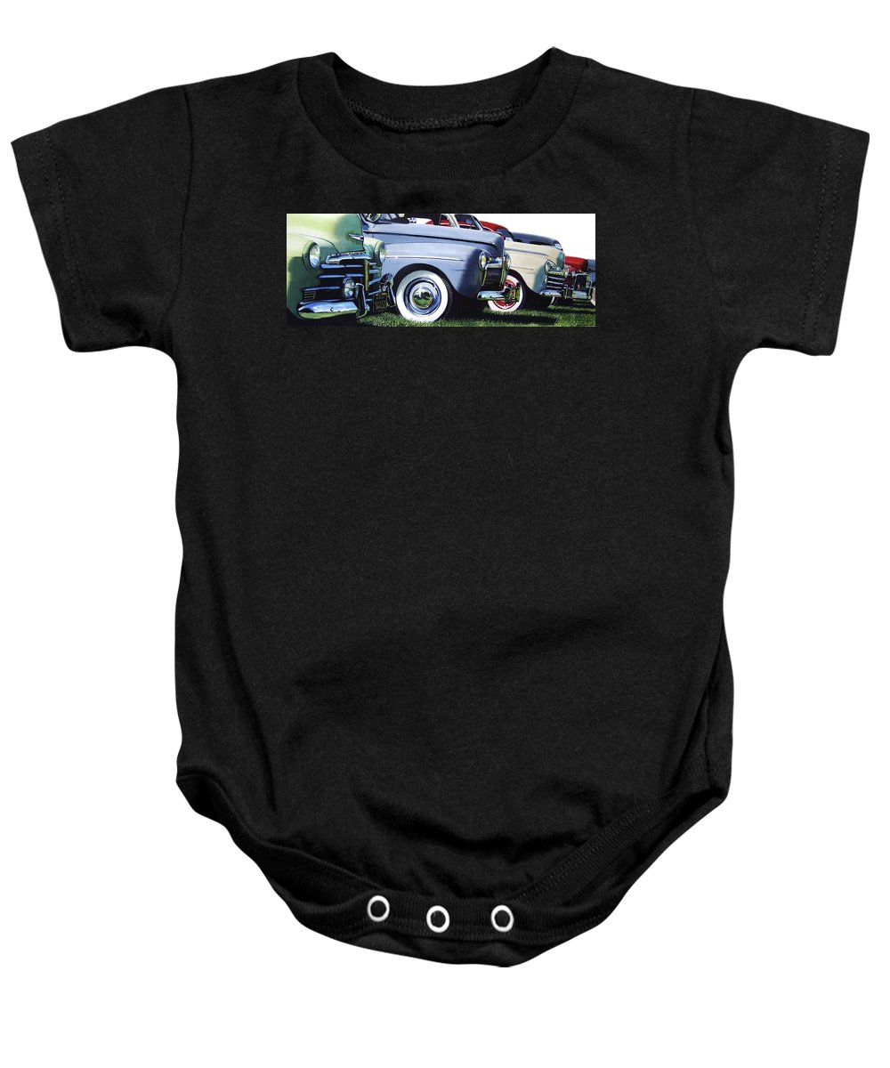 Antique Cars Baby Onesie featuring the painting Line Up by Denny Bond