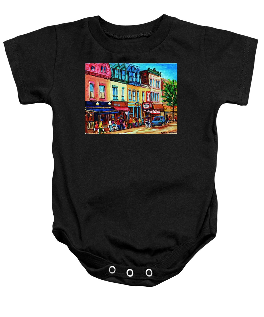 Cityscape Baby Onesie featuring the painting Lineup For Smoked Meat Sandwiches by Carole Spandau