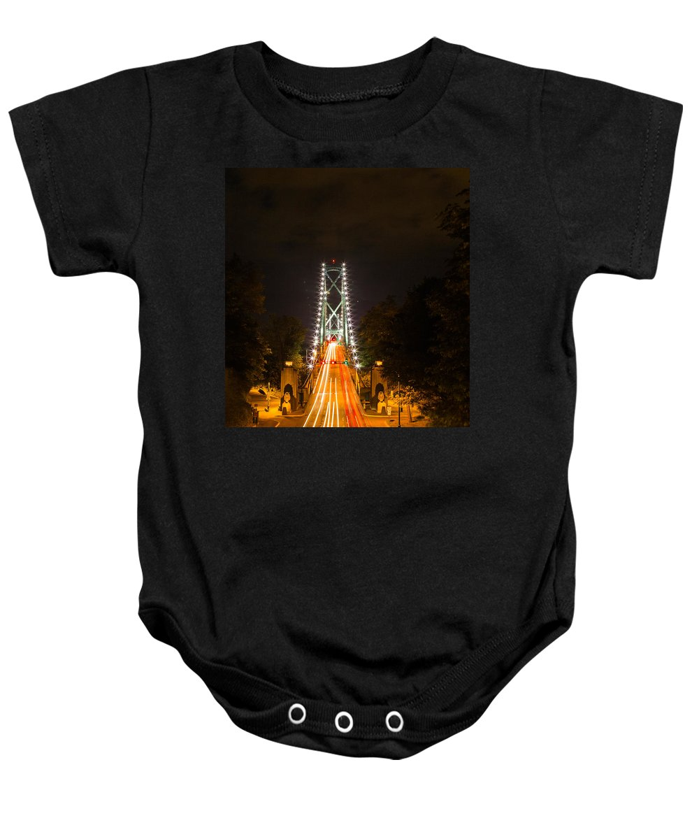 Bridge Baby Onesie featuring the photograph Lions Gate by Costantino Galileos