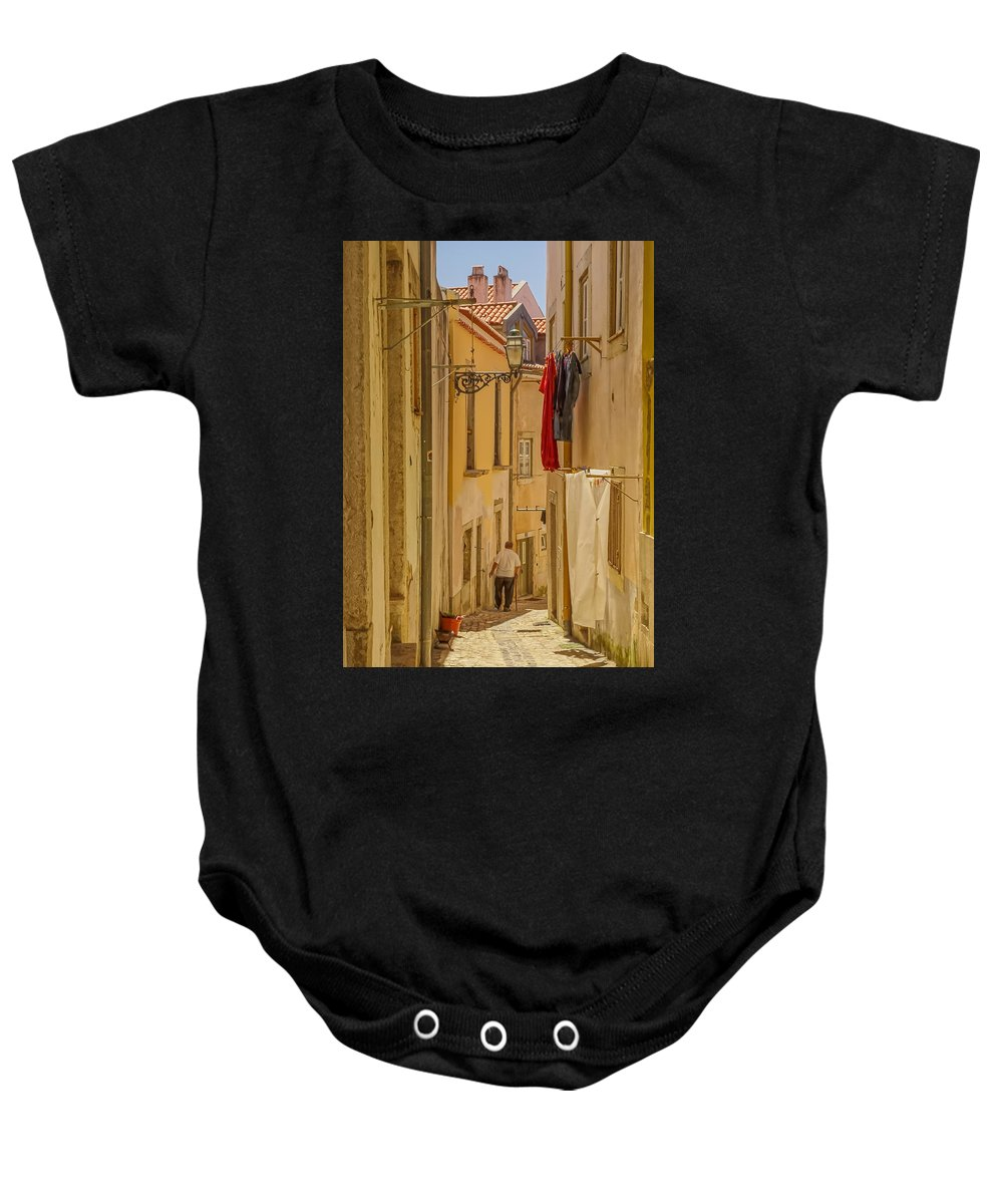 Lisbon Baby Onesie featuring the photograph Lisbon Street # 1 by Tom and Pat Cory