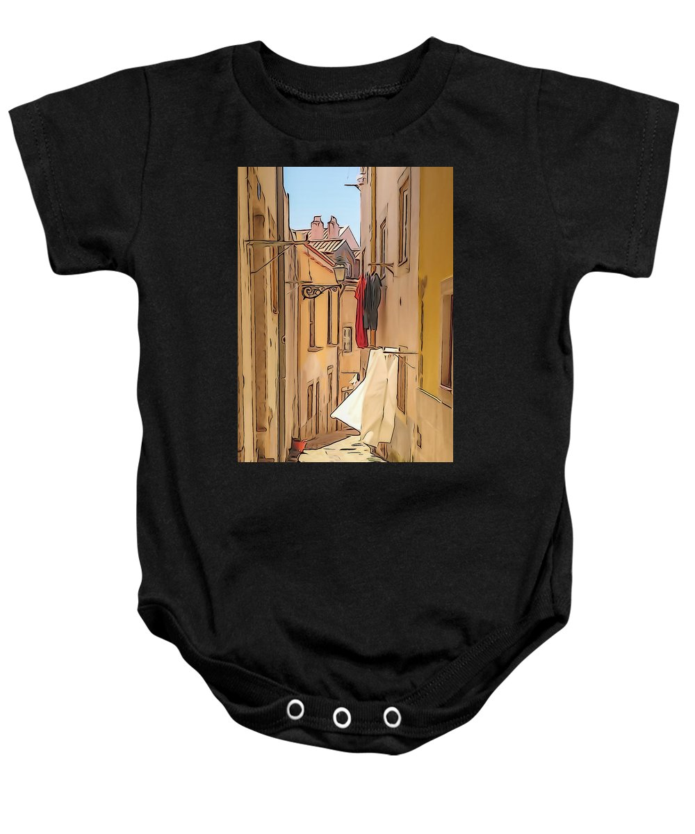 Lisbon Baby Onesie featuring the photograph Lisbon Street #2 by Tom and Pat Cory