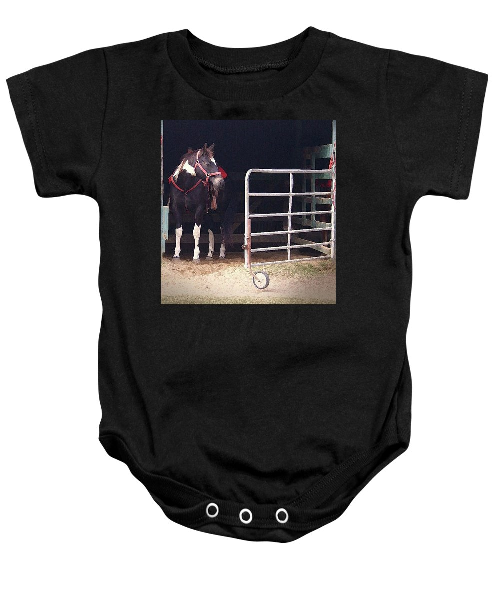 Horse Baby Onesie featuring the digital art Listening For My Turn by Kim Henderson