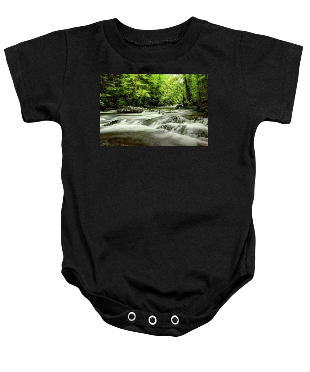 Tennessee Stream Baby Onesie featuring the photograph Listening To The Song Of The Stream by Mike Eingle