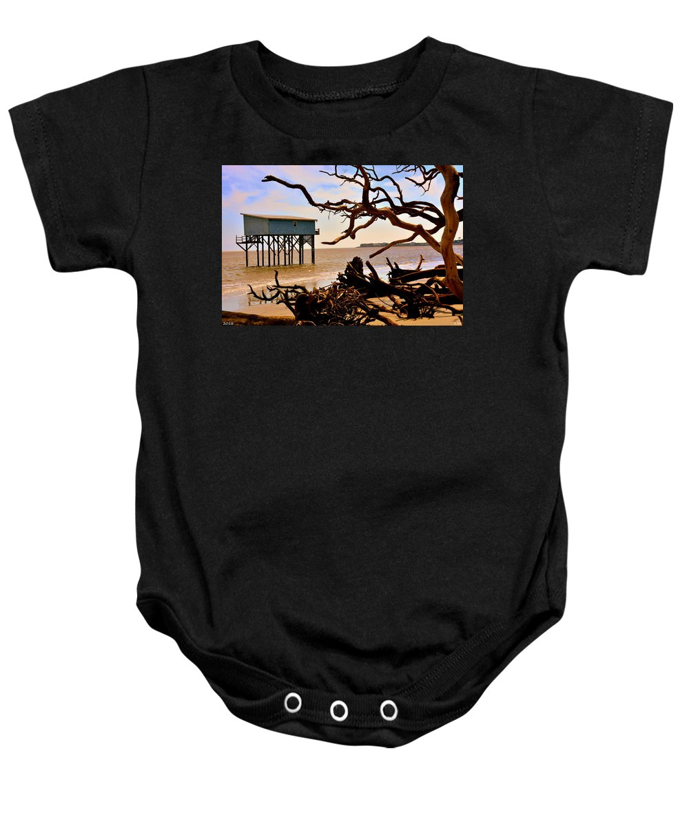 Little Blue Hunting Island State Park Beaufort Sc Baby Onesie featuring the photograph Little Blue Hunting Island State Park Beaufort Sc by Lisa Wooten