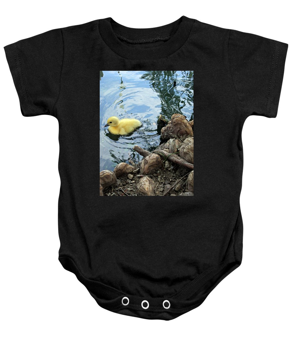 Duck Baby Onesie featuring the photograph Little Ducky by Angelina Tamez