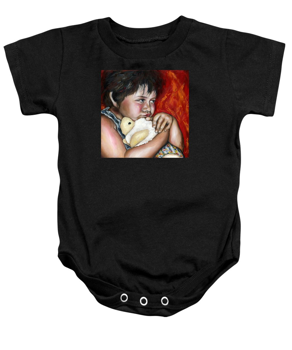 Cute Baby Onesie featuring the painting Little Fighter by Hiroko Sakai
