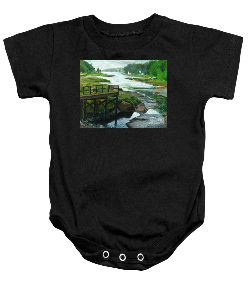 River Baby Onesie featuring the painting Little River Gloucester Study by Claire Gagnon