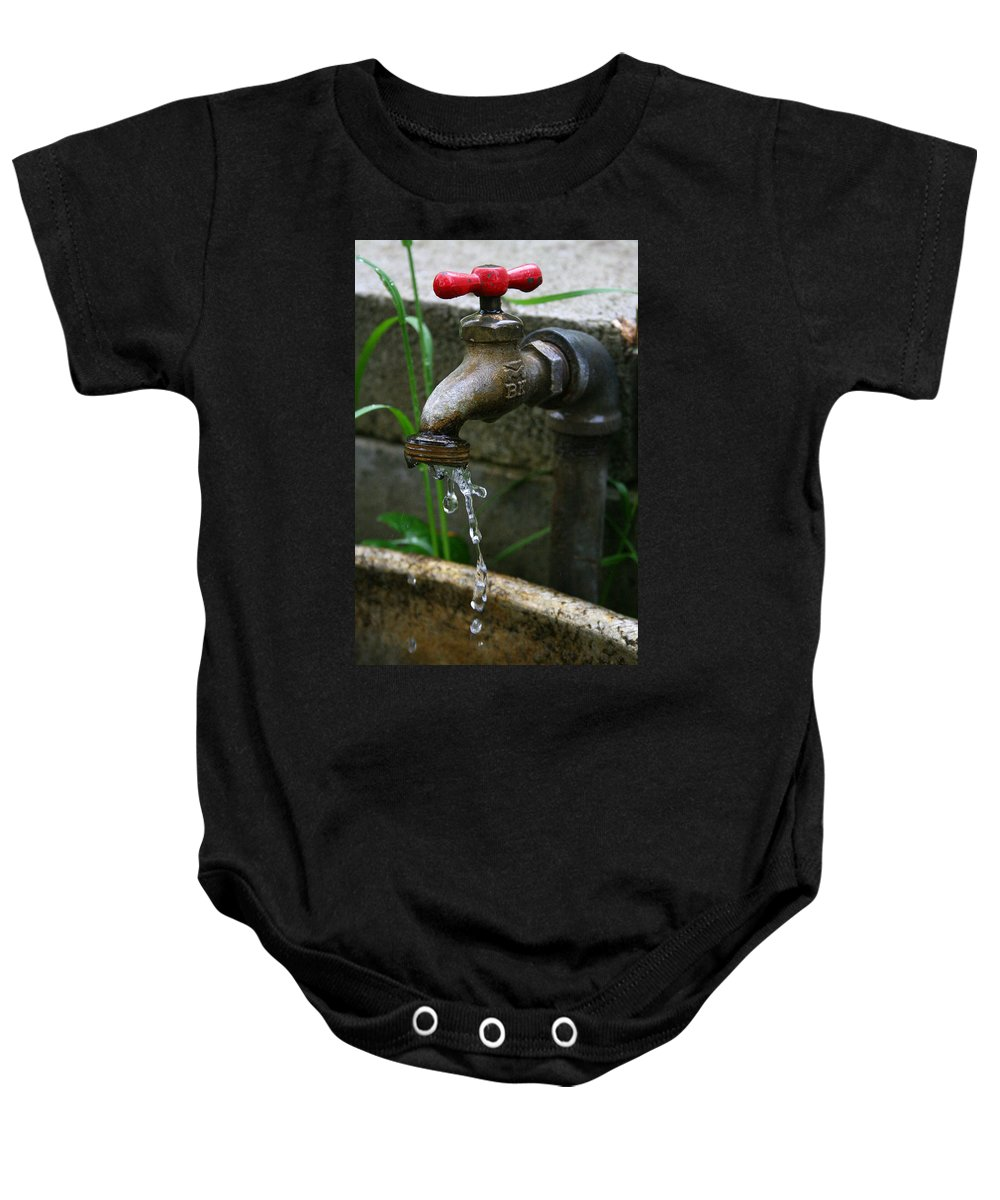 Water Faucet Valve Nature Garden Drop Dripping Red Wet Life Grow Nourish Rural Country Baby Onesie featuring the photograph Living Water by Andrei Shliakhau