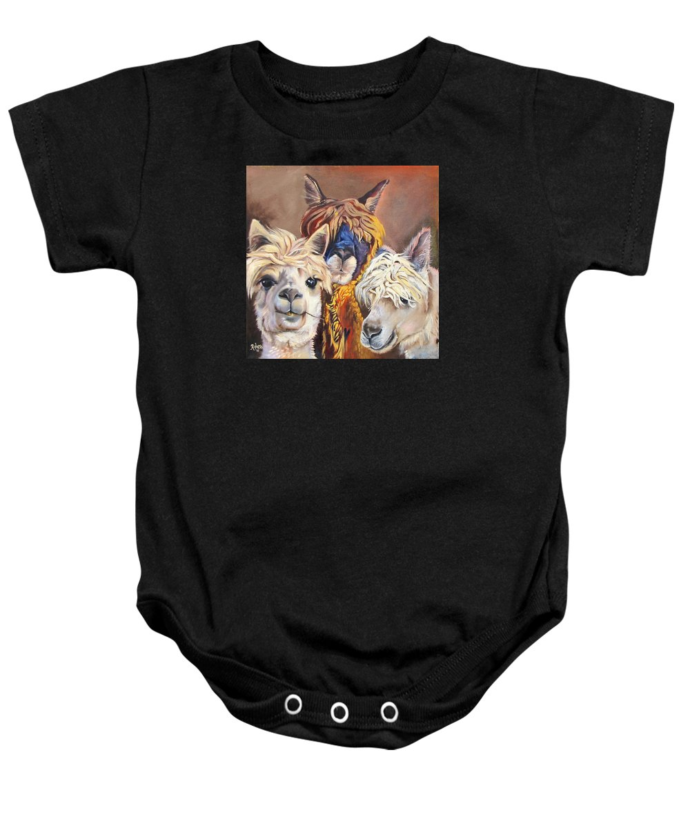 Llamas Baby Onesie featuring the painting Llama Love by Carole Robare
