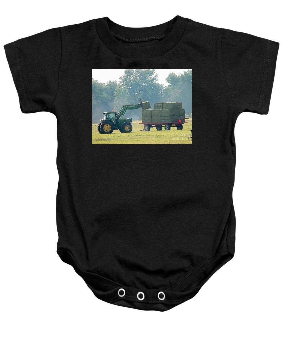 Farm Baby Onesie featuring the painting Loading Hay At Dusk by J McCombie