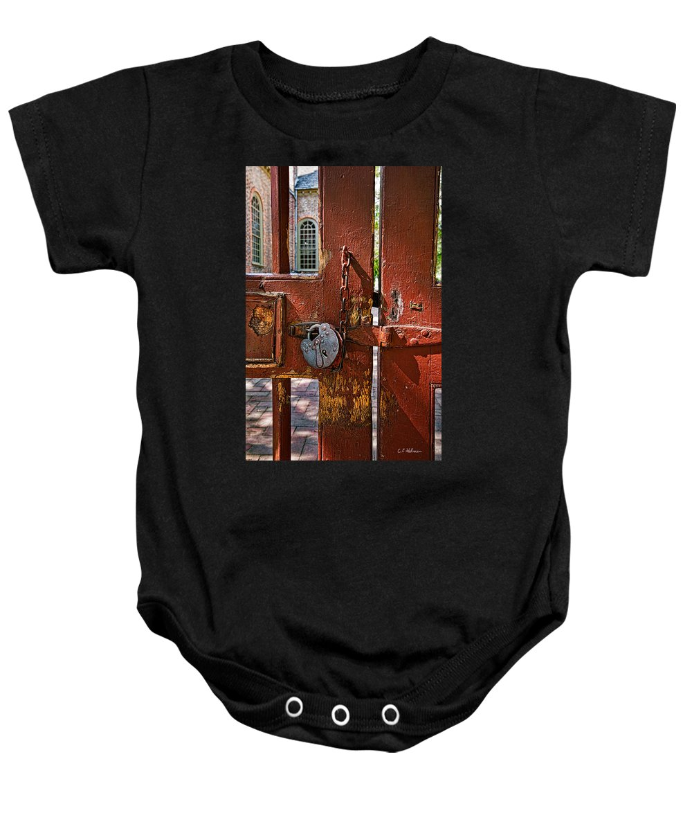 Gate Baby Onesie featuring the photograph Locked Gate by Christopher Holmes