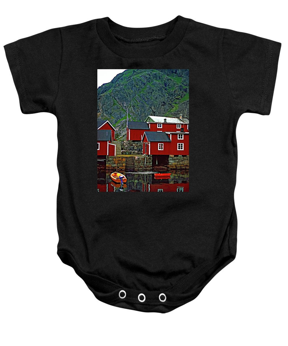 Lofoten Baby Onesie featuring the photograph Lofoten Fishing Huts Oil by Steve Harrington