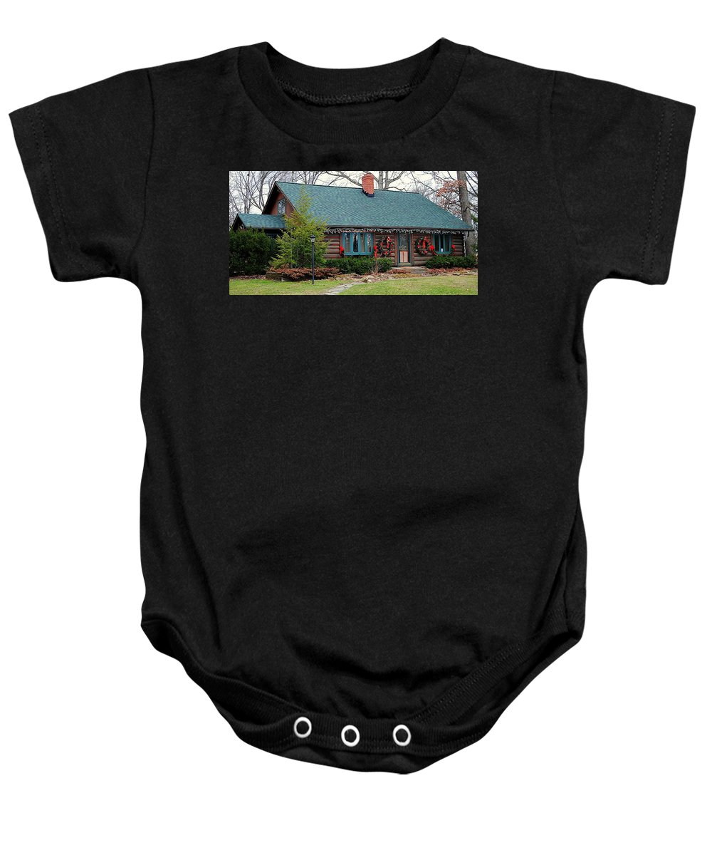 Home Baby Onesie featuring the photograph Log Cabin by Frozen in Time Fine Art Photography