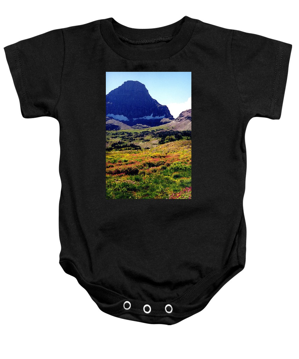 Glacier National Park Baby Onesie featuring the photograph Logans Pass in Glacier National Park by Nancy Mueller