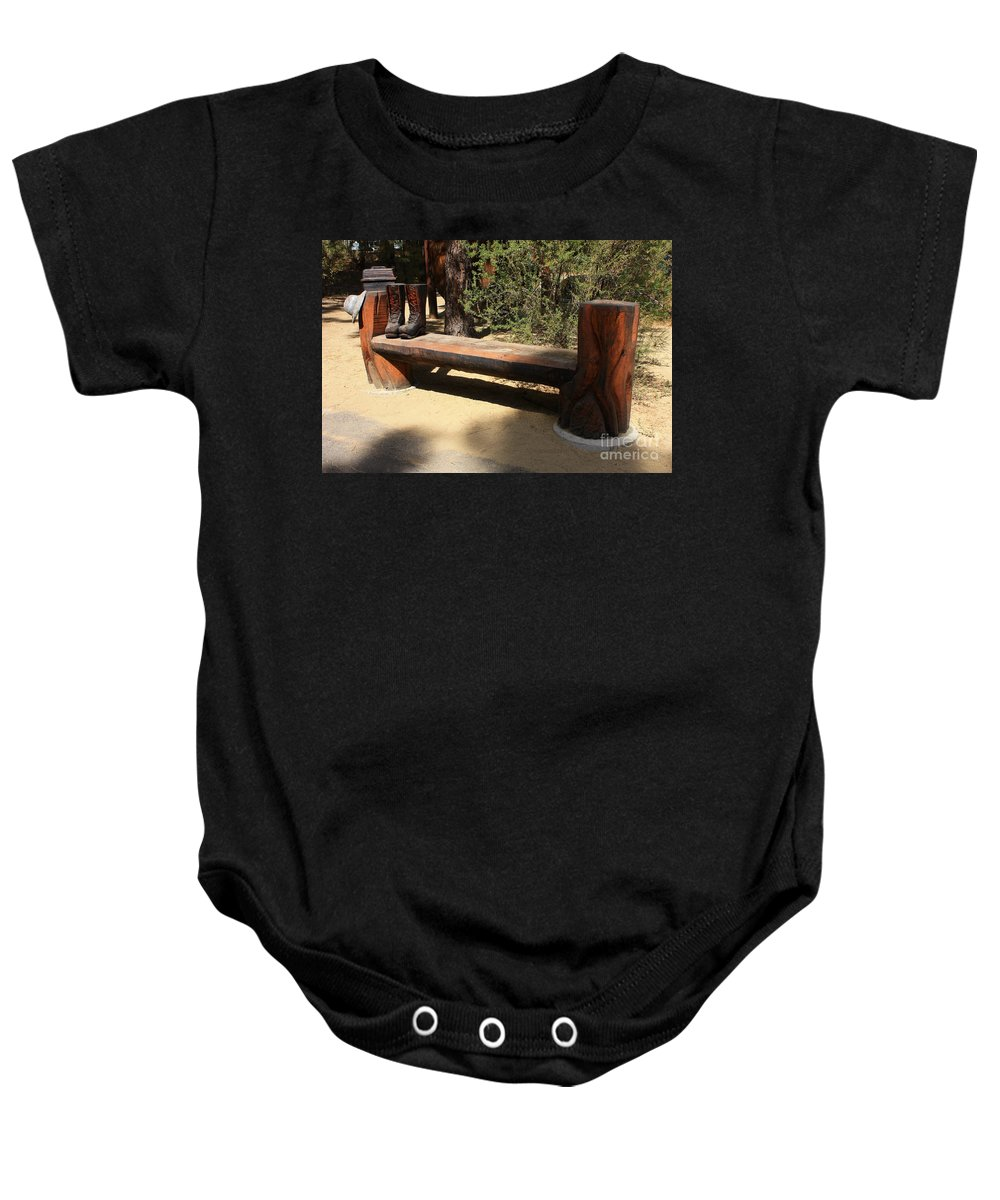 Oregon Baby Onesie featuring the photograph Logger Bench In Oregon by Carol Groenen