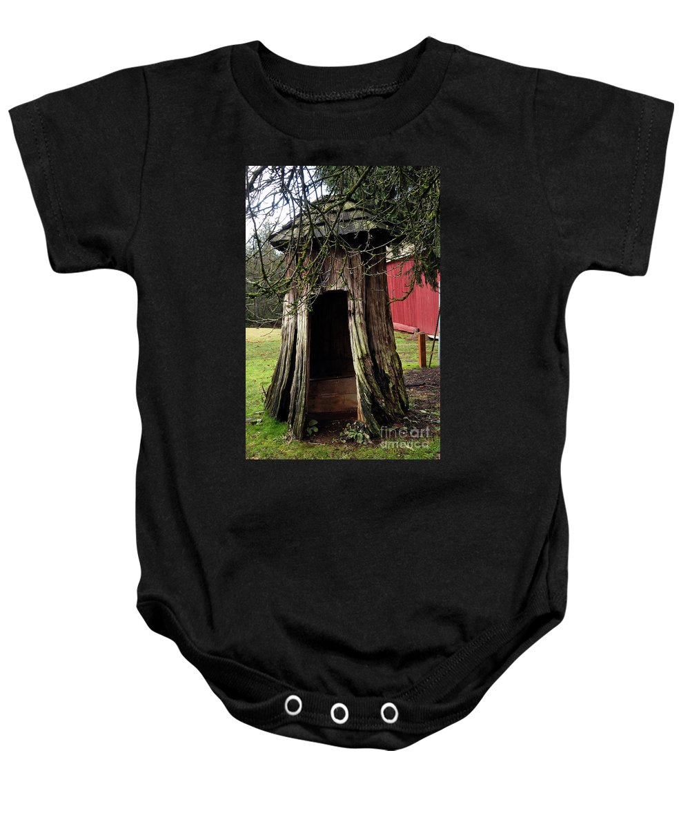 Clay Baby Onesie featuring the photograph Loggers Outhouse by Clayton Bruster
