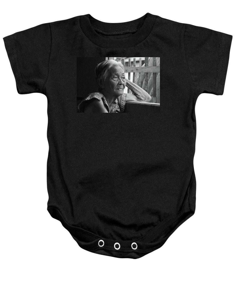 Philippines Baby Onesie featuring the photograph Lola Image Number 33 In Black And White. by James BO Insogna