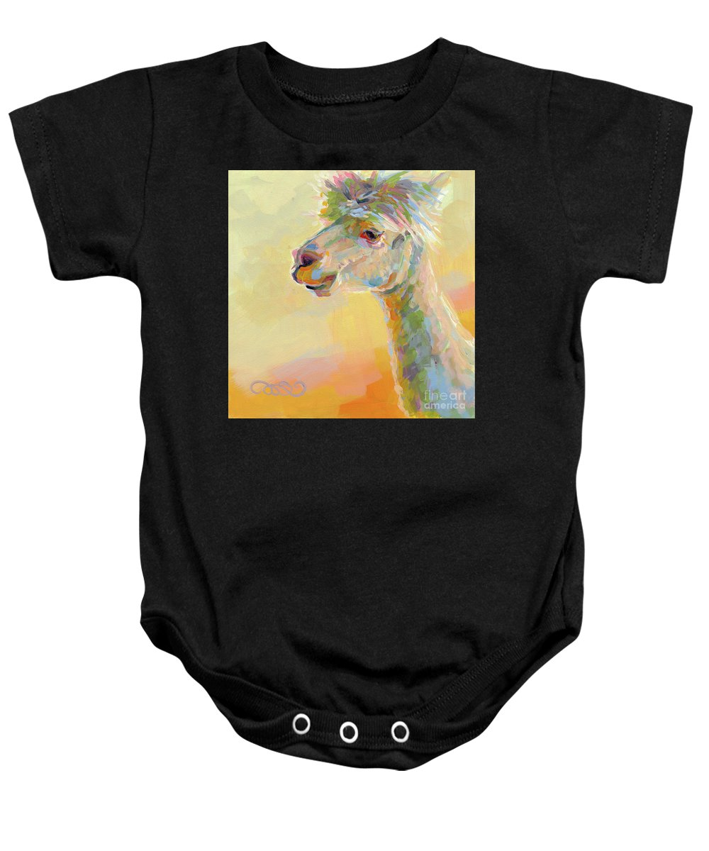 Llama Baby Onesie featuring the painting Lolly Llama by Kimberly Santini