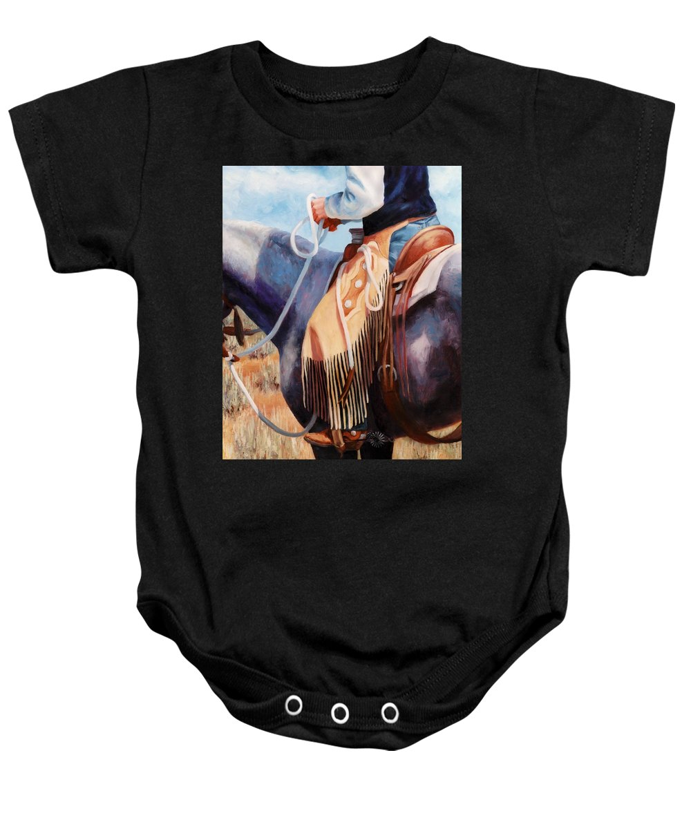 Chaps Baby Onesie featuring the painting Long Fringed Chink Chaps Western Art Cowboy Painting by Kim Corpany