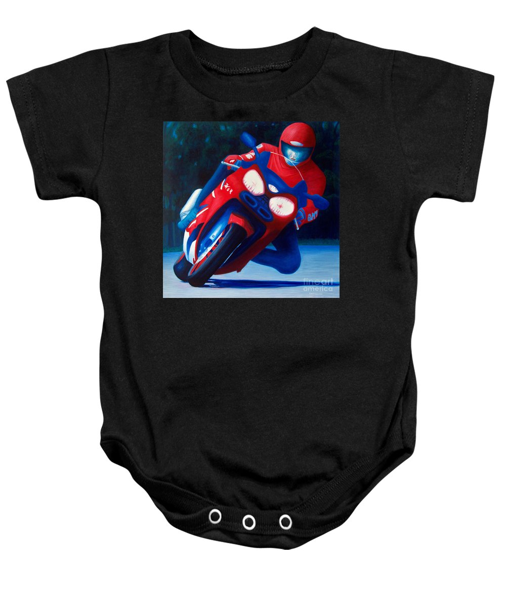 Motorcycle Baby Onesie featuring the painting Long Shadows - Kawasaki Zx6 by Brian Commerford