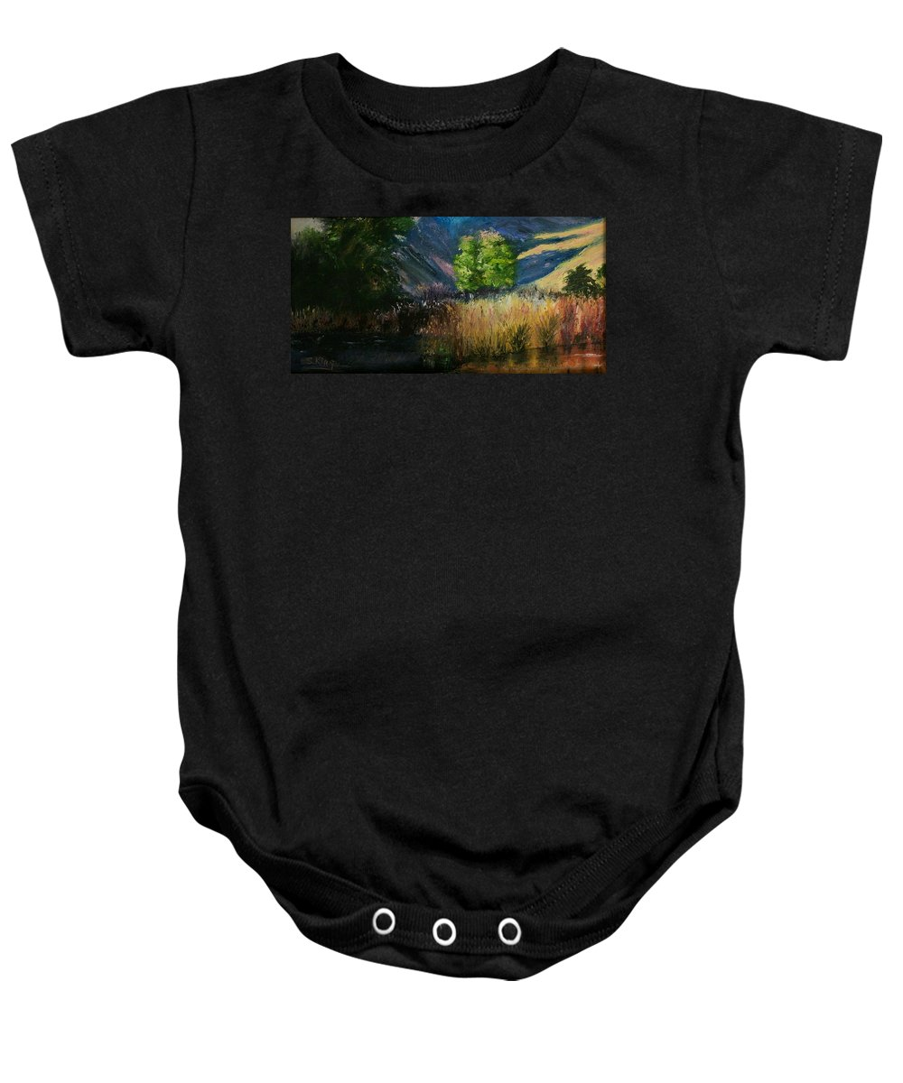 Landscape Baby Onesie featuring the painting Long Shadows by Stephen King