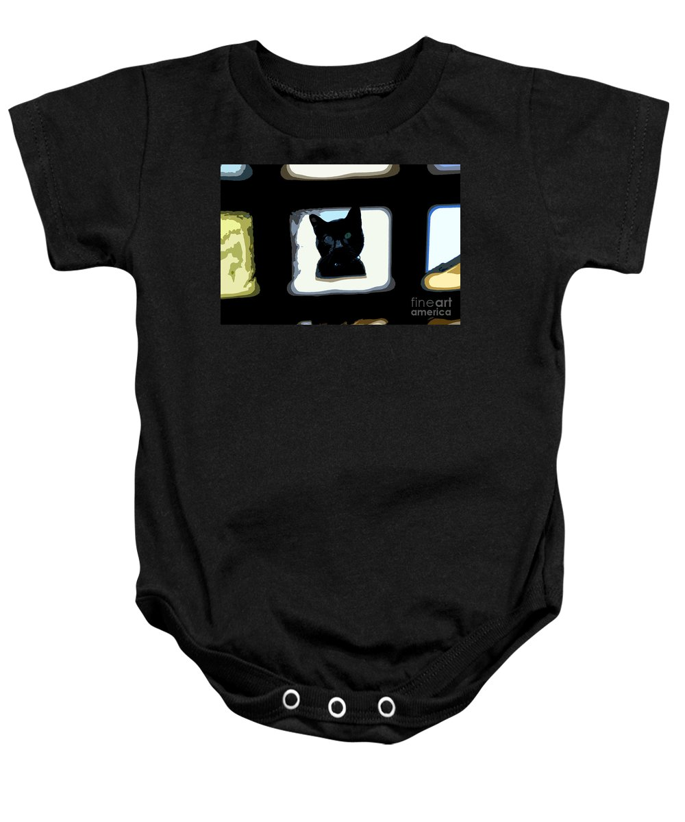 Black Cat Baby Onesie featuring the painting Looking by David Lee Thompson