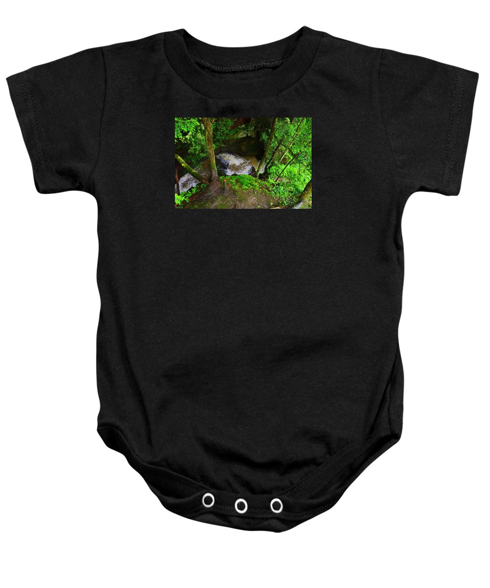 Mcconnells Mill State Park Pa Baby Onesie featuring the photograph Looking Down by Lisa Wooten