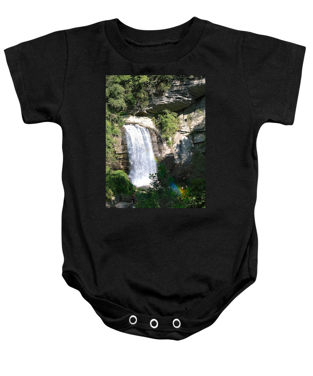 Landscape Baby Onesie featuring the photograph Looking Glass Falls Nc by Steve Karol