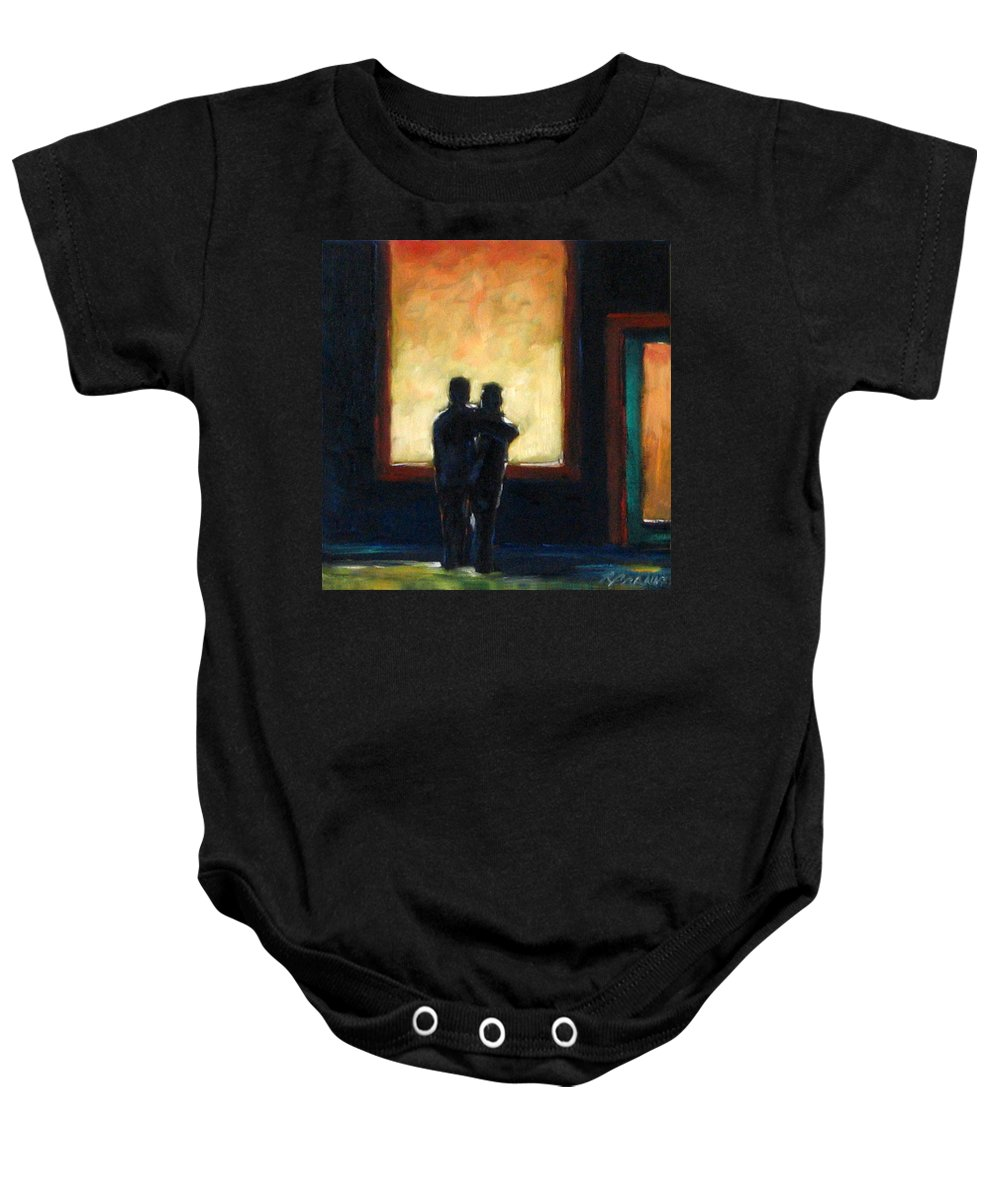 Town Baby Onesie featuring the painting Looking In Looking Out Mini by Richard T Pranke