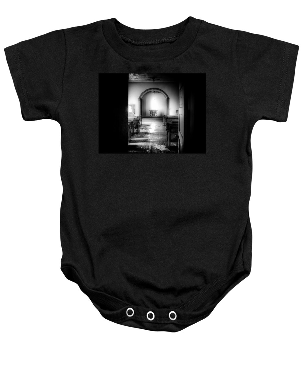 Church Baby Onesie featuring the photograph Looking Into The Past by Jonny D