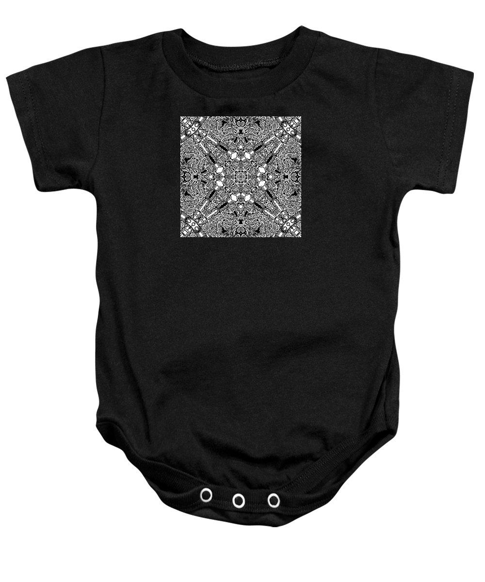 Joymckenzie Baby Onesie featuring the digital art Loops Black And White No. 1 by Joy McKenzie