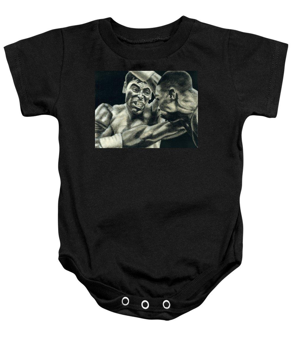 Boxing Baby Onesie featuring the drawing Los Guerreros by Roberto Valdes Sanchez