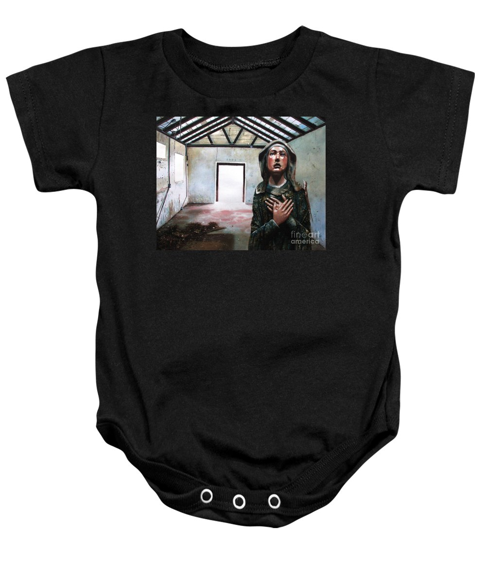 Icon Baby Onesie featuring the painting Losing My Religion by Denny Bond