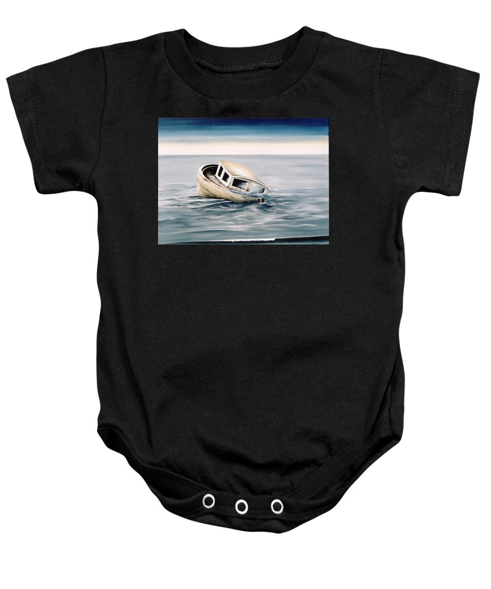 Seascape Baby Onesie featuring the painting Lost At Sea Contd by Mark Cawood