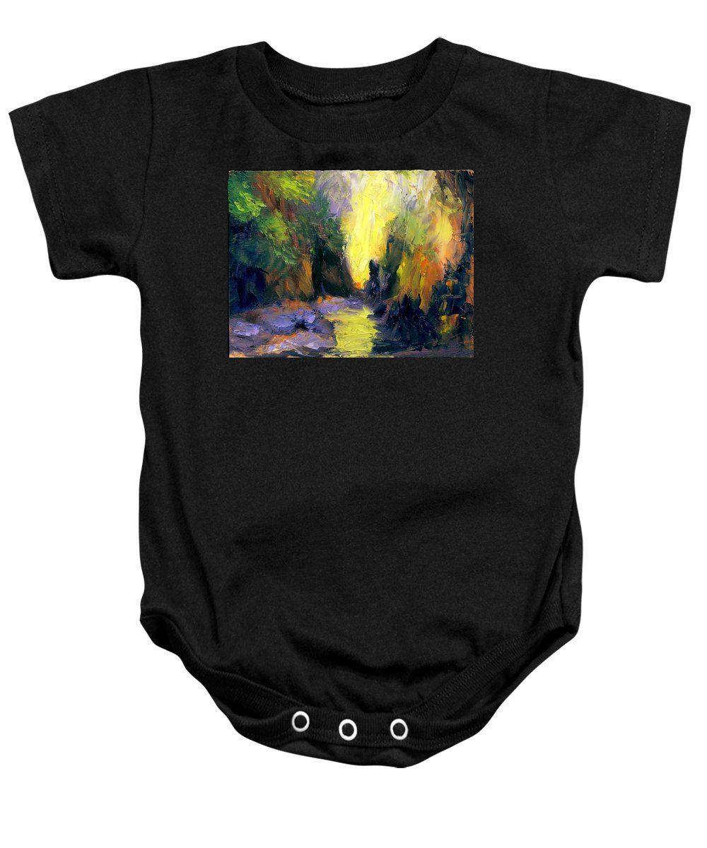 Landscape Baby Onesie featuring the painting Lost Creek by Gail Kirtz