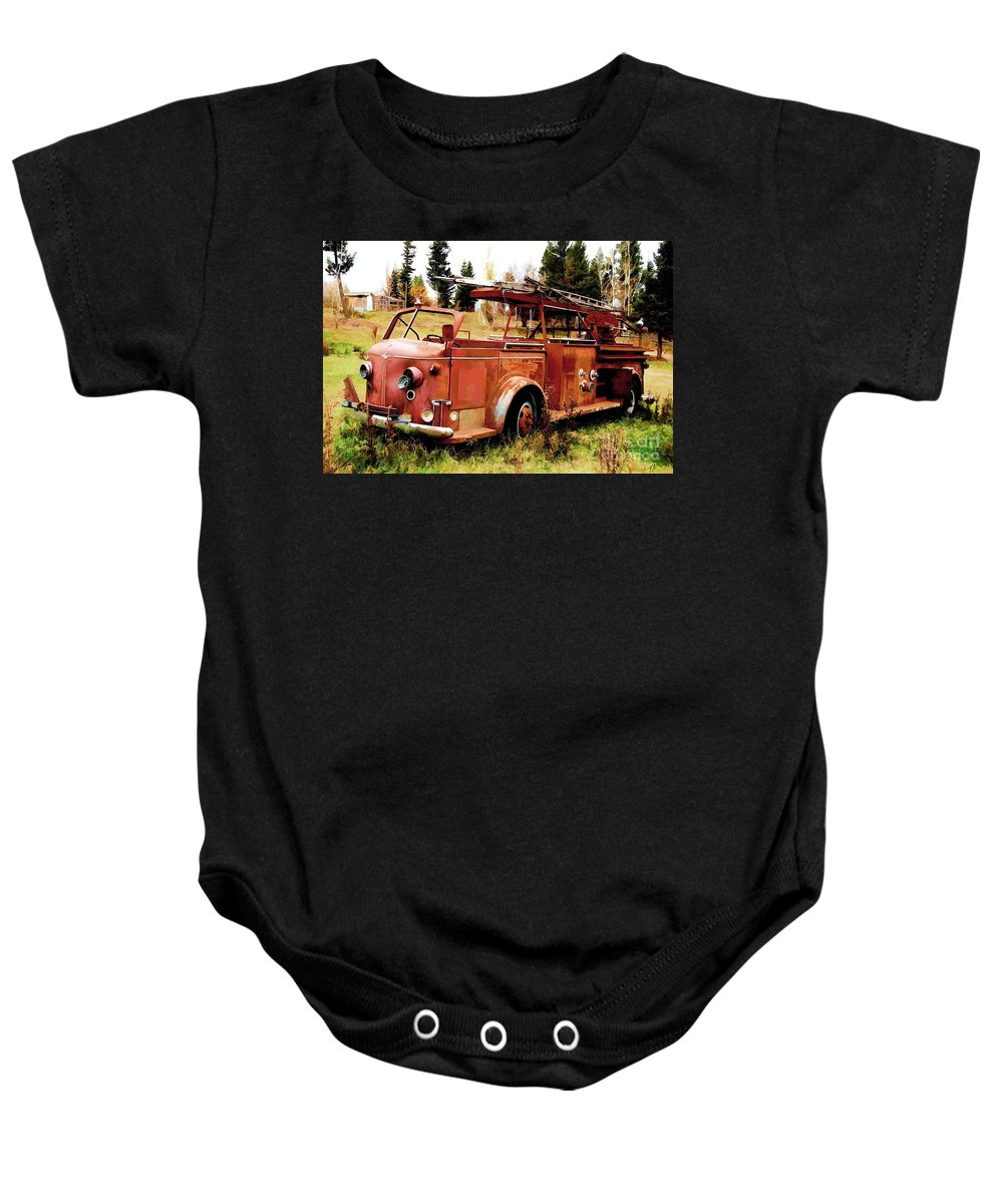 American La France Baby Onesie featuring the digital art Lost Hero by Tommy Anderson