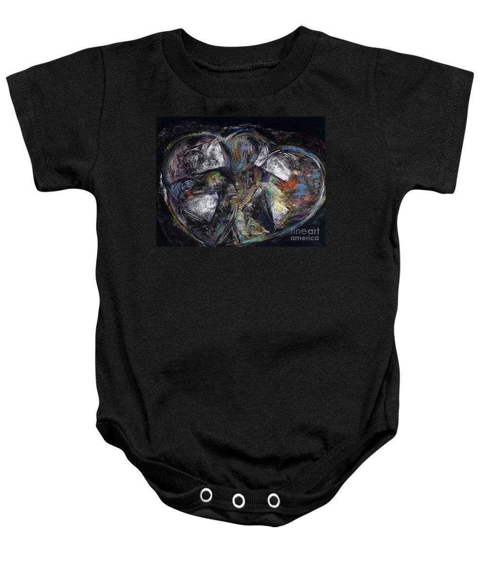 Abstract Heart Baby Onesie featuring the painting Lots Of Heart by Frances Marino