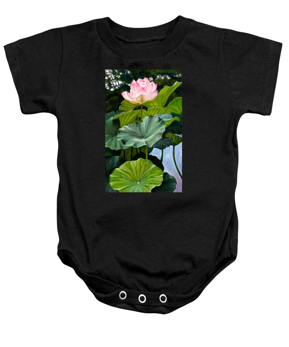 Lotus Flower Baby Onesie featuring the painting Lotus Rising by John Lautermilch