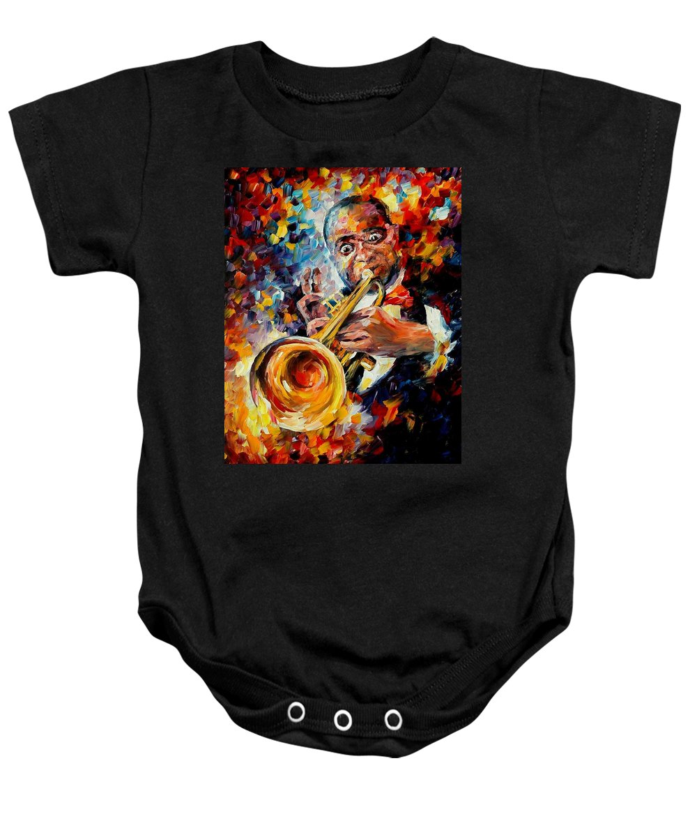 Music Baby Onesie featuring the painting Louis Armstrong by Leonid Afremov