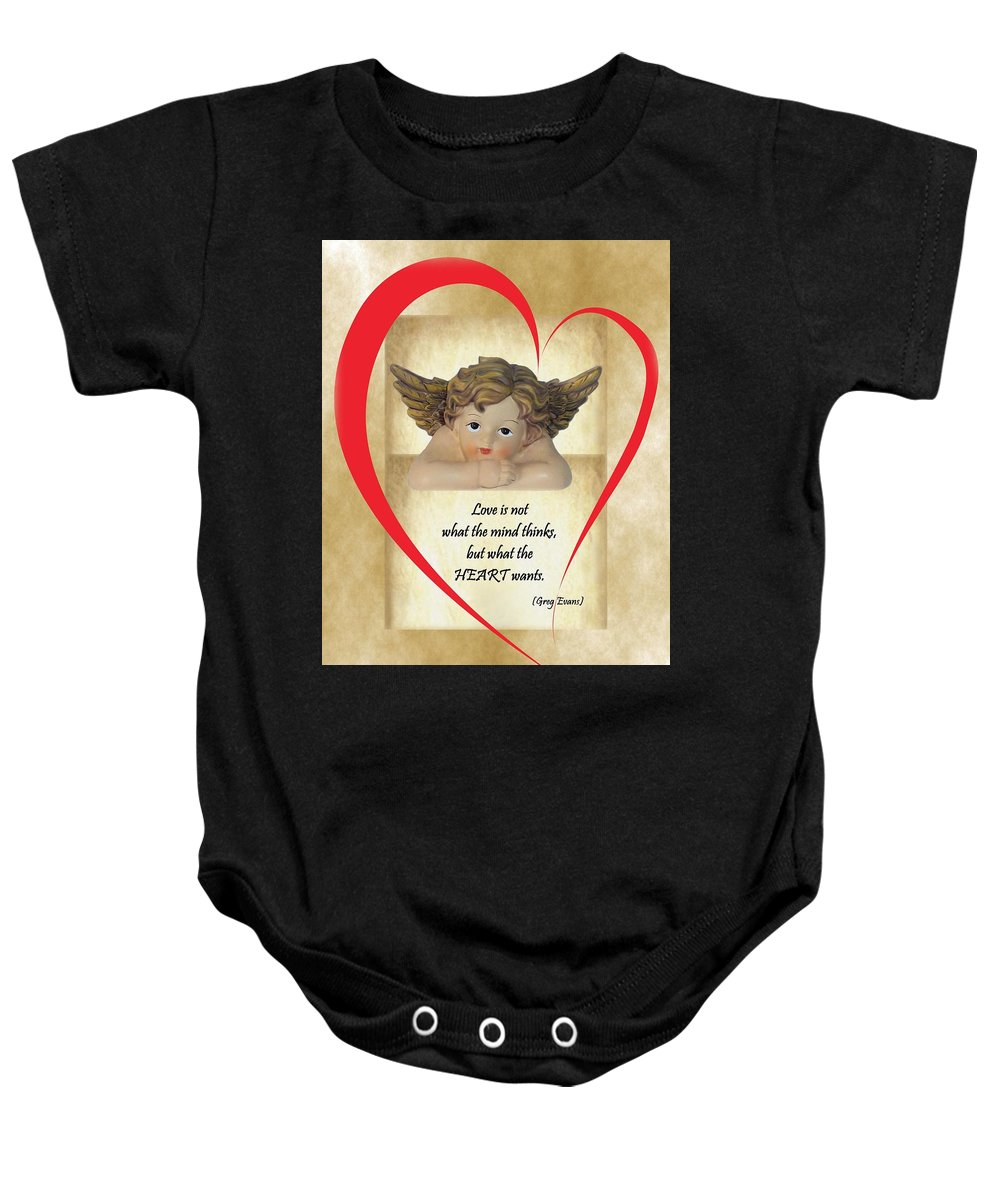 Heart Baby Onesie featuring the digital art Love Is In The Heart by Mirna Milostic
