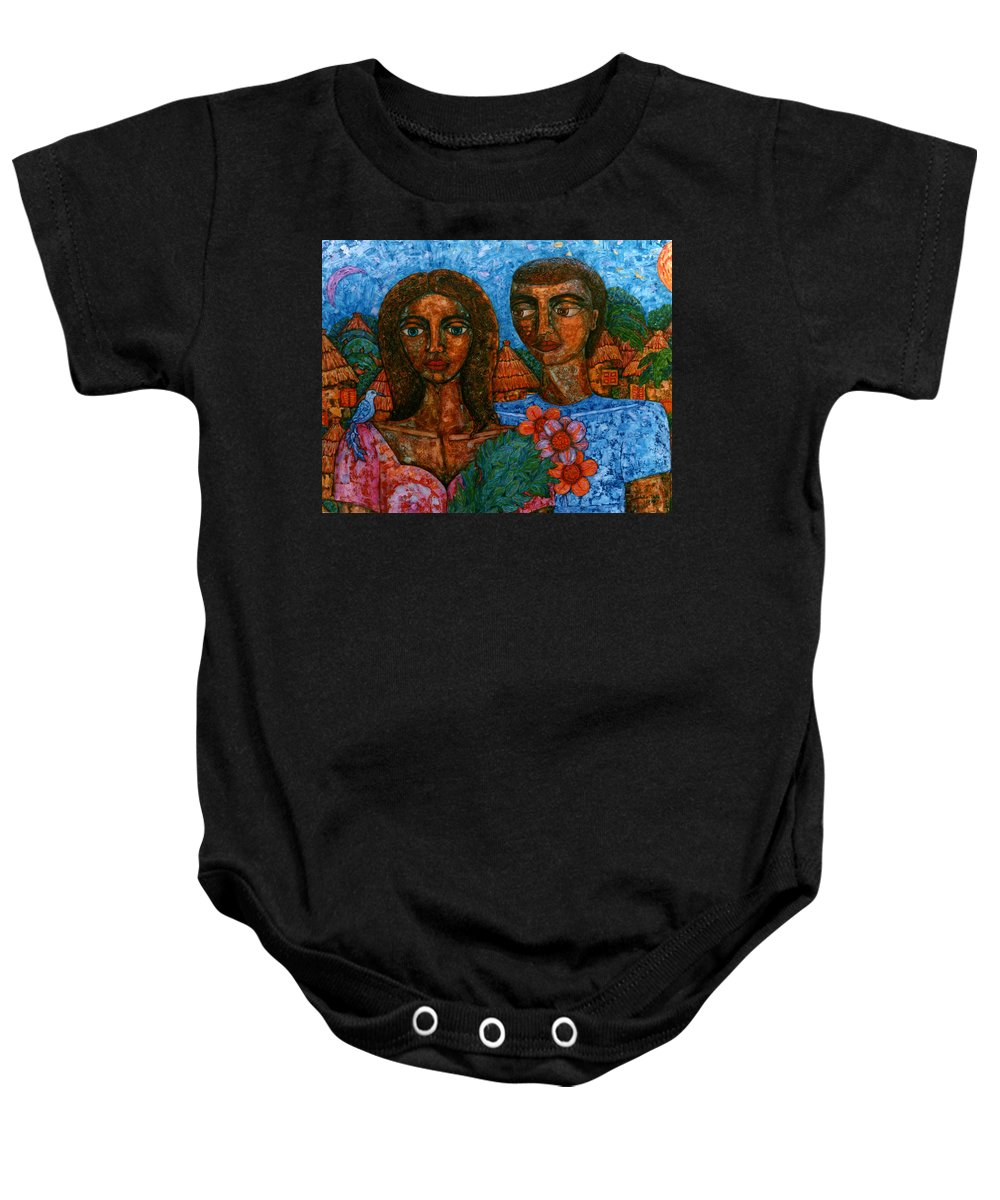 Love Baby Onesie featuring the painting Love Is Like A Bird by Madalena Lobao-Tello