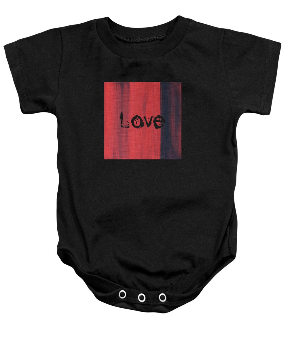 Love Baby Onesie featuring the mixed media Love by Kathleen Wong