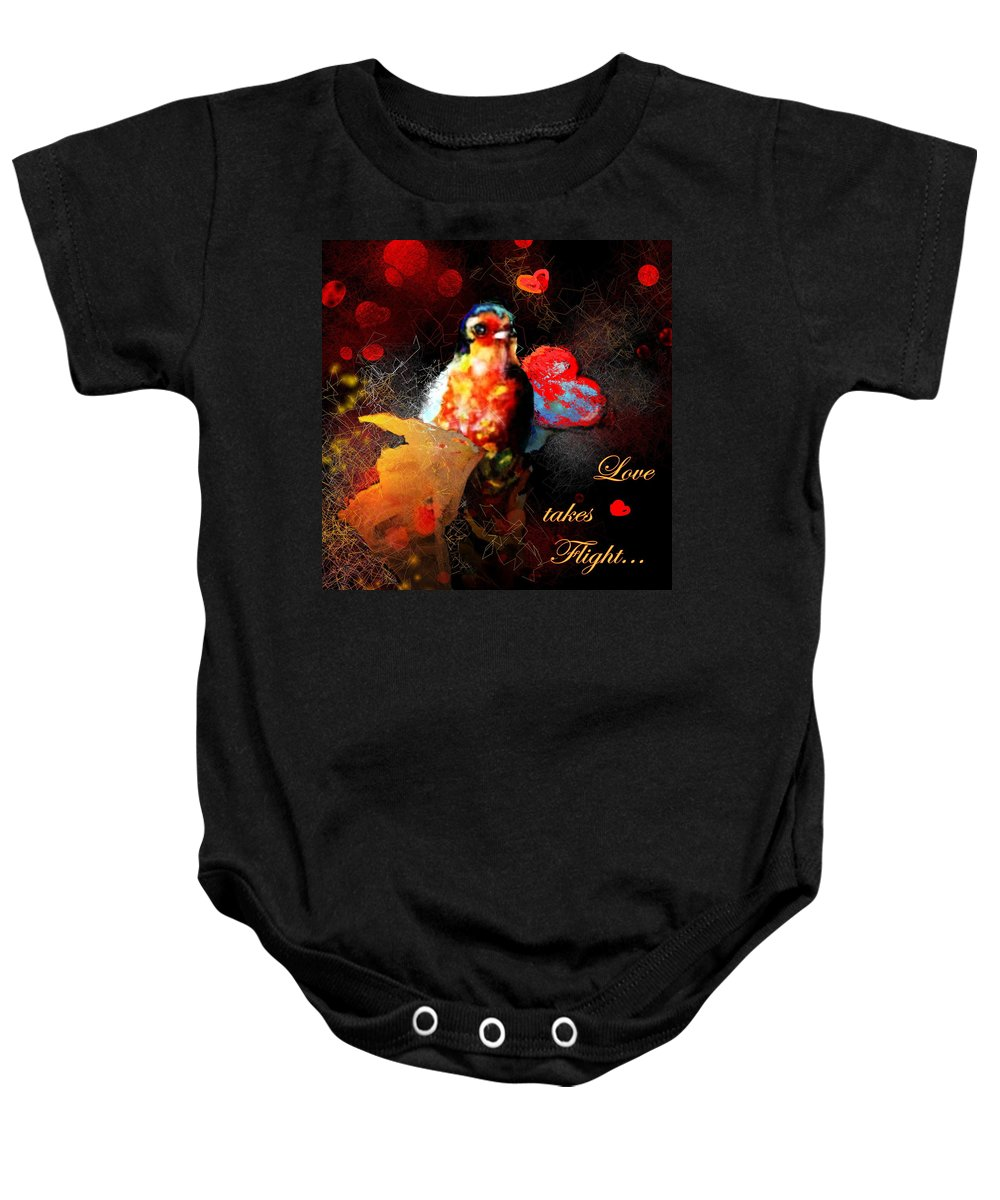 Love Baby Onesie featuring the painting Love Takes Flight by Miki De Goodaboom