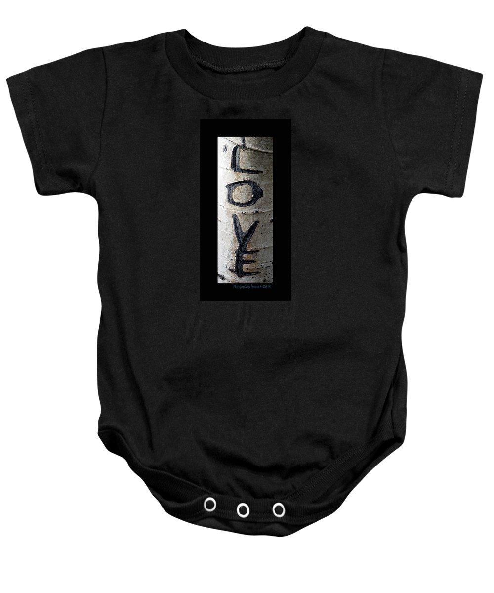 Photo Baby Onesie featuring the photograph Love Written In The Trees 5 by Tamara Kulish