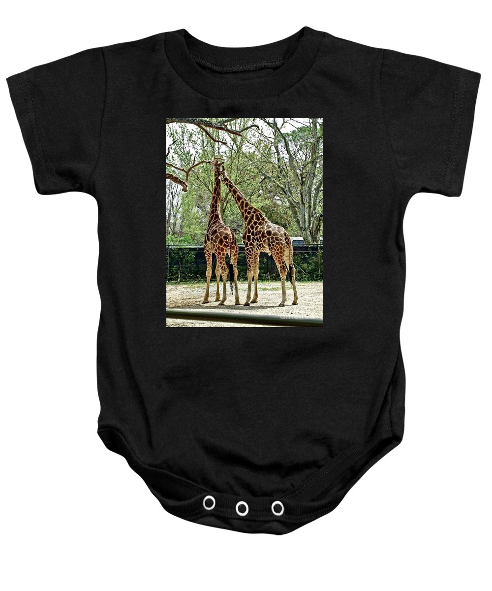 Giraffe Baby Onesie featuring the photograph Loving by Frances Hattier