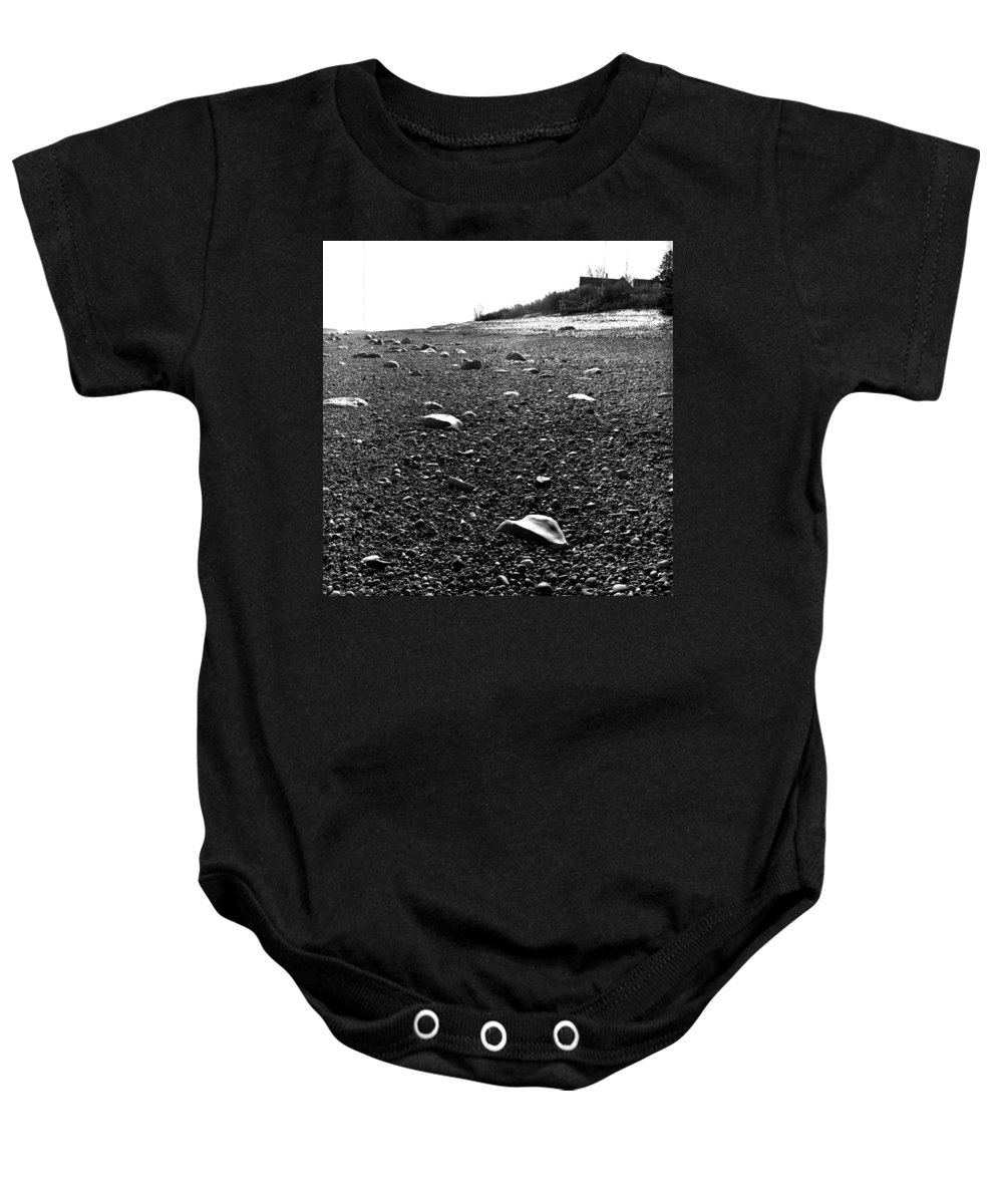 Black And White Baby Onesie featuring the photograph Low Tide At Linwood's House 26 by Timothy Bischoff