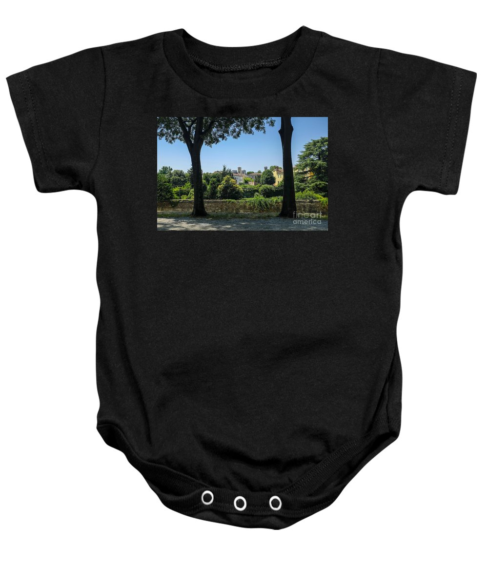Wall Baby Onesie featuring the photograph Lucca Italy by Edward Fielding
