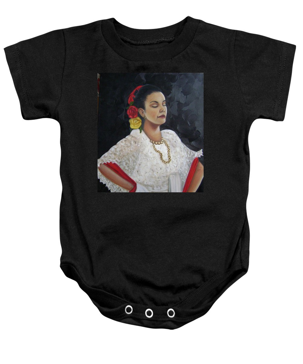 Baby Onesie featuring the painting Lucinda by Toni Berry