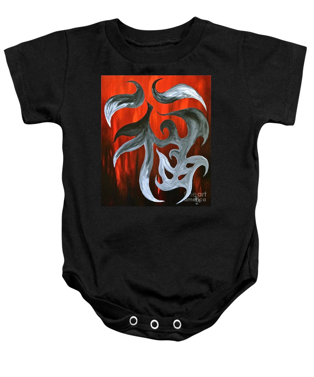 Abstract Symbols By Herschel Fall Baby Onesie featuring the painting Luck by Herschel Fall